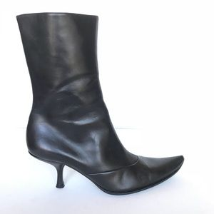 BALLY Tully Black Mid Calf Pointed Curve Toe Boots